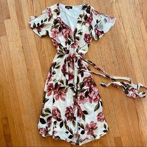 Lulu's Floral Midi Wrap Dress